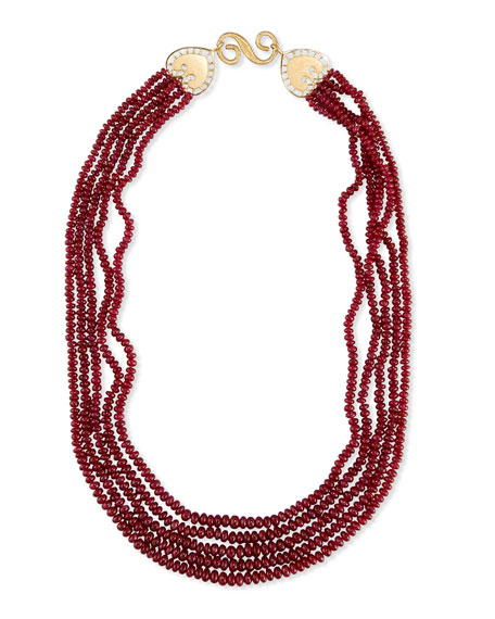 Splendid Company Five-Strand Smooth Ruby Necklace JVqgW4DvVG