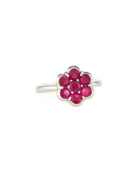 Platinum & Ruby Flower Ring, Size 6
