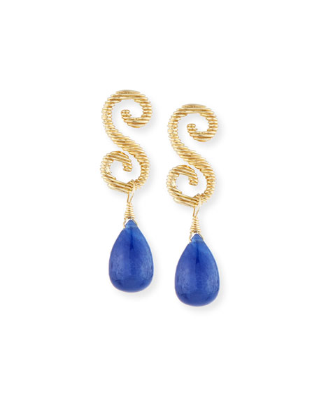 18K Gold & Sapphire Briolette Drop Earrings