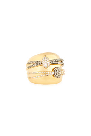 Bessa 18K Yellow Gold Ring with White & Champagne Diamond Wraps, Size 6.5