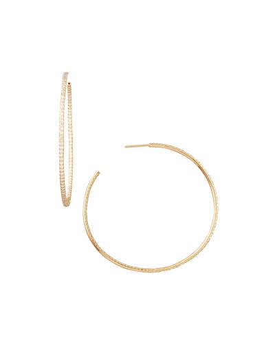 55mm Rose Gold Diamond Hoop Earrings, 2ct