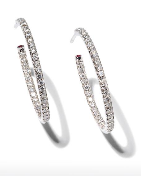 25mm White Gold Diamond Hoop Earrings, 0.8ct