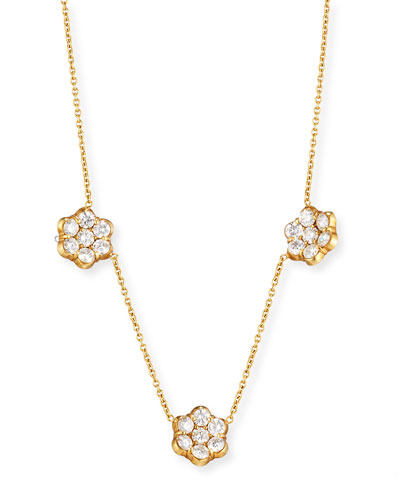 18K Gold & Diamond Floral Station Necklace