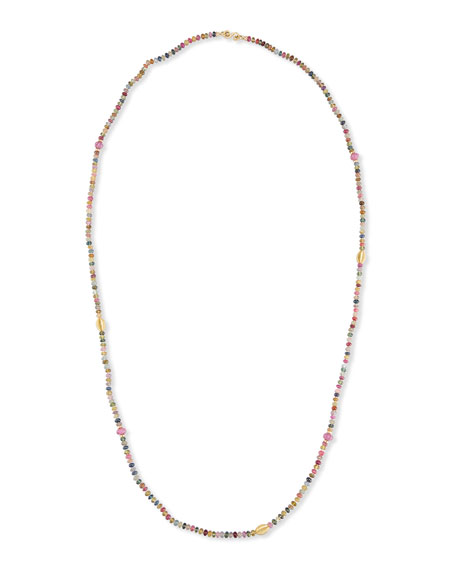 Single-Strand Multicolor Sapphire Necklace, 41""