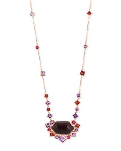 Gold Struck Garnet  Ruby & Amethyst Pendant Necklace