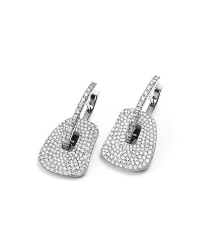 Small 18K White Gold & Diamond Puzzle Drop Earrings