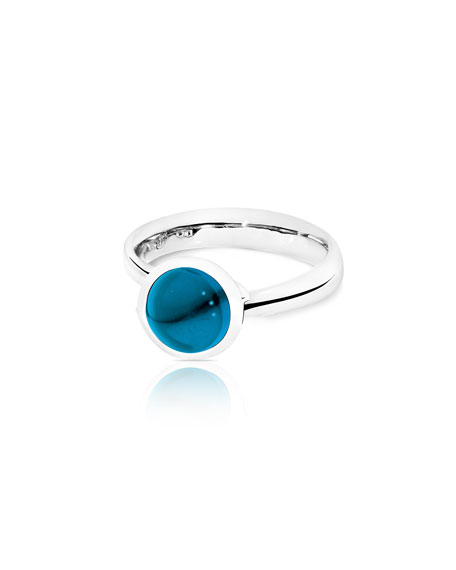 Bouton 8mm London Blue Topaz Cabochon Ring, Size 7/54