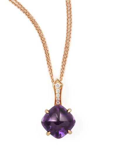 Jelly Bean Round Amethyst & Diamond Pendant Necklace