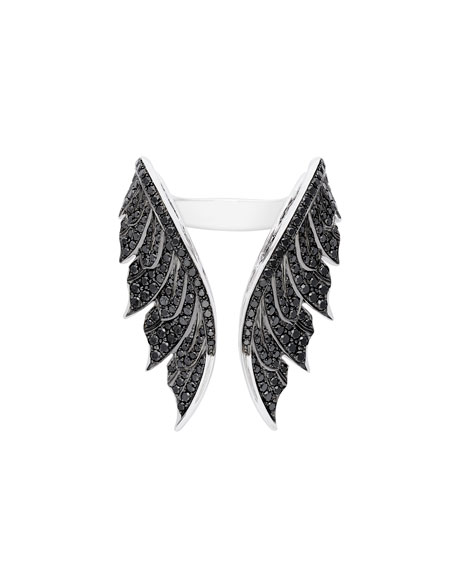 Magnipheasant Open Feather Ring with Black Diamonds