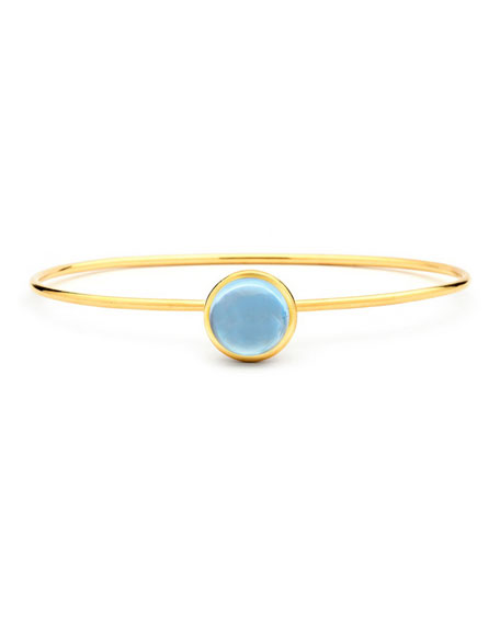 Syna Big Baubles 18k Yellow Gold Big Stacking Bracelet, Blue Topaz