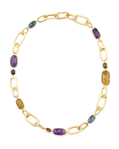 Murano 18k Mixed-Stone Link Necklace, 20