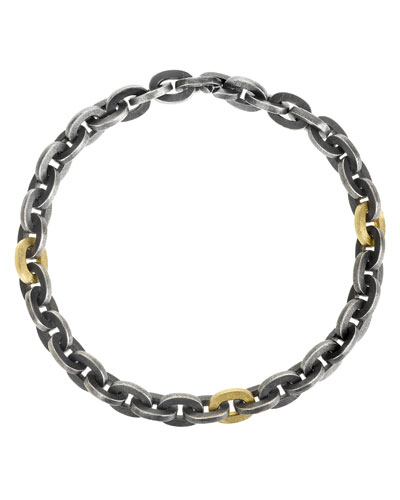 Sterling Silver Link Bracelet with 18K Accents