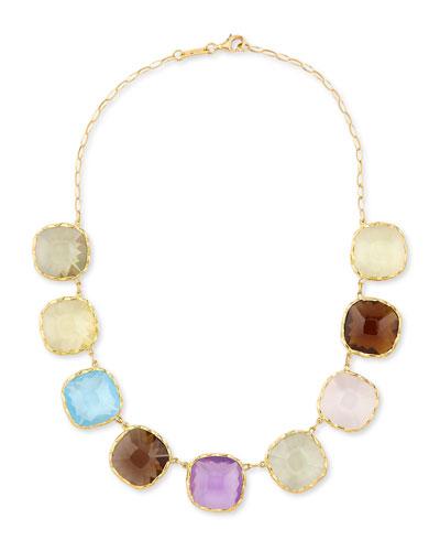 Ipanema 18k Gold Square Semiprecious Necklace