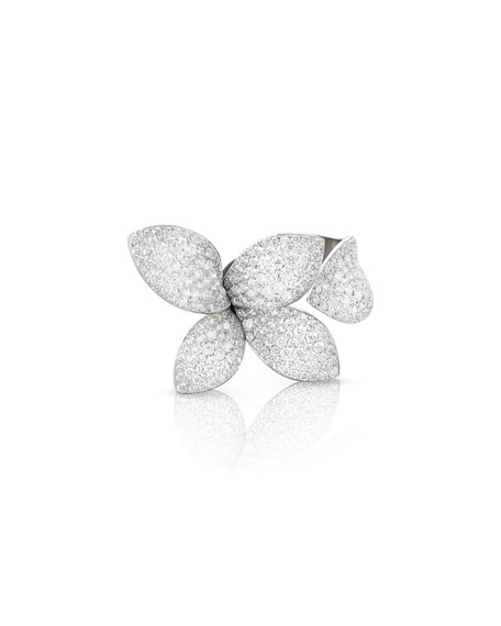 Giardini Secreti 18K White Gold Diamond Petal Ring, Size 7