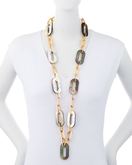 Vhernier Bisquit 18k Pink Gold White & Grey Mother of Pearl Chain