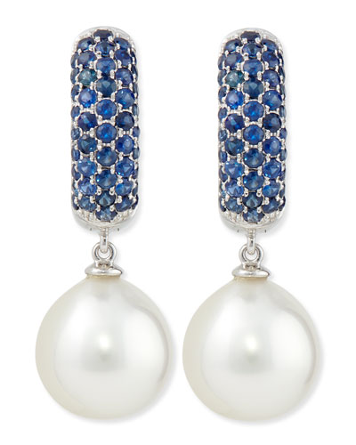 Aura Sapphire & White Pearl Earrings