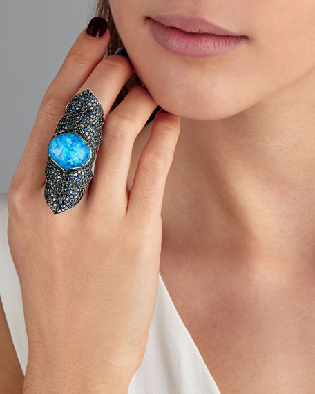 Armourdillo Crystal Haze Long Finger Ring with Black Diamonds & Blue Sapphires