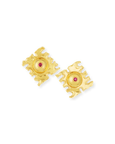 De Coupe 22K Gold Earrings with Rubies