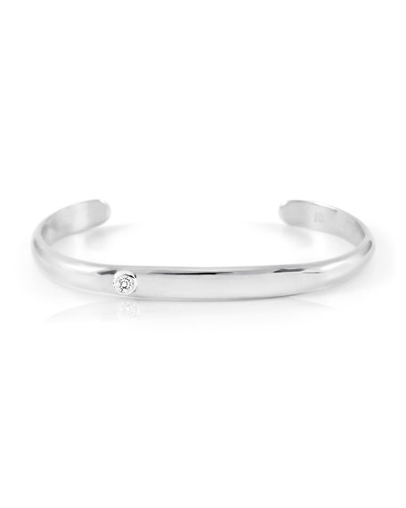 18K White Gold Cuff Bracelet with Diamond Bezel