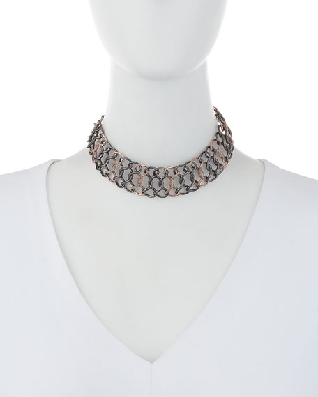 Silver & 14K Rose Gold Diamond Chain Choker Necklace