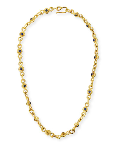 22K Gold Blue & Yellow Sapphire Necklace  19