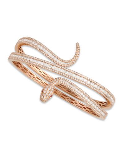 18k Rose Gold Diamond Snake Bangle