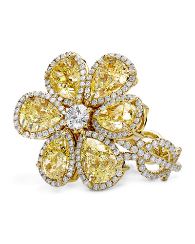 18K Gold Flower Ring with Fancy Intense Yellow Diamonds, Size 7.75