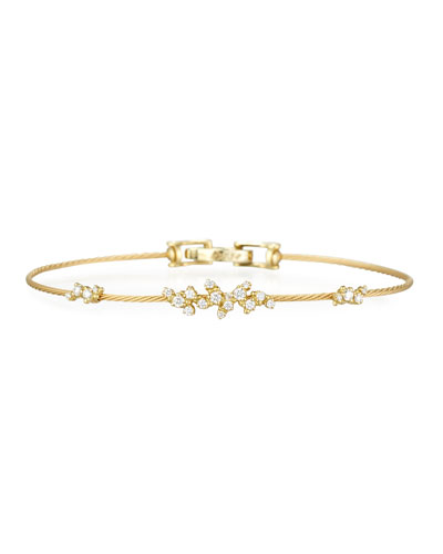 Diamond Confetti Single Wire Bracelet  Yellow Gold