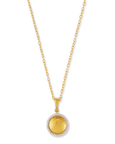 Round Glow Lentil Pendant Necklace with Diamonds