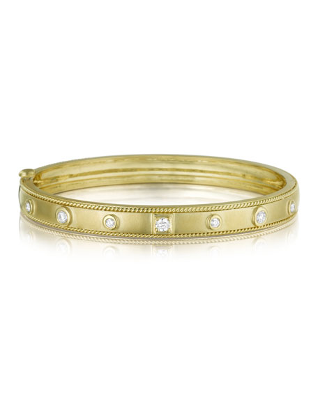 18K Gold Bangle with Round & Square Diamond Stations