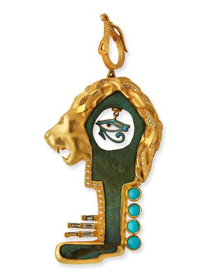 Antiquity Bronze Roman Lion Key Pendant with Diamonds