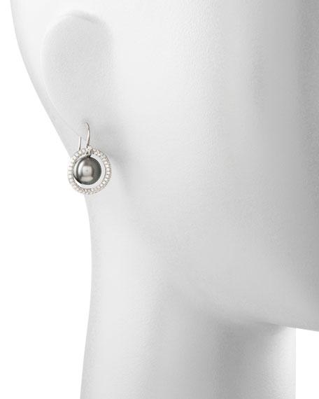 Gray South Sea Pearl & Diamond Halo Earrings, 1.15ct