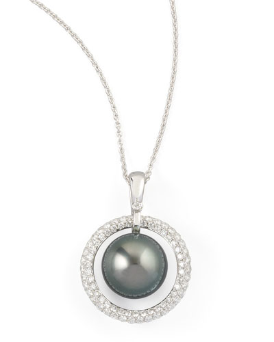 Gray South Sea Pearl & Diamond Halo Necklace, 0.70ct