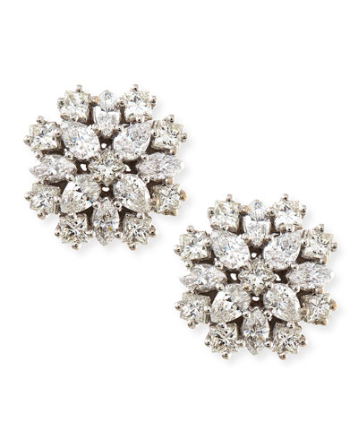 18k White Gold Diamond Cluster Stud Earrings, 12mm