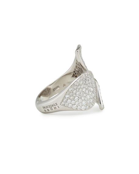Giardini Segreti 18k White Gold Diamond Leaf Ring, 2.1 cts.