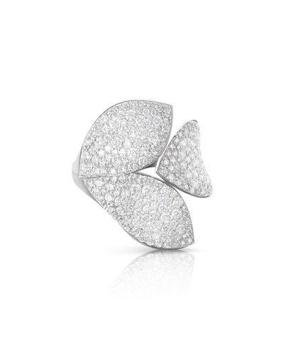 Giardini Segreti 18k White Gold Diamond Leaf Ring, 2.1 cts.