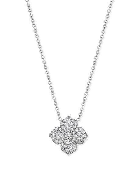 Pave Diamond Flower Pendant Necklace