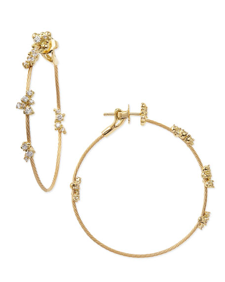 18k Yellow Gold Diamond Confetti Single Wire-Hoop Earrings