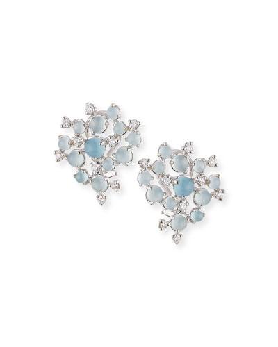 Aquamarine & White Diamond Bubble Cluster Earrings