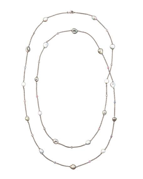 "Gray Keshi Pearl & Sapphire Station Necklace, 42""L"