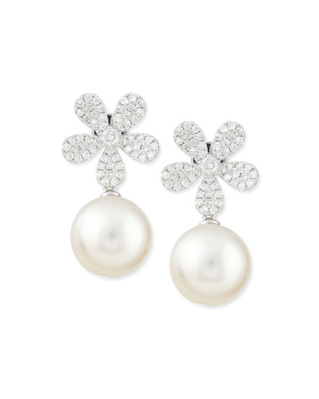 Fleur White Diamond & Pearl Earrings