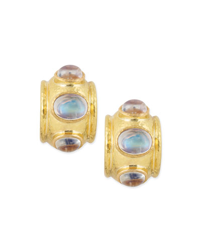 Moonstone Cabochon Clip/Post Earrings