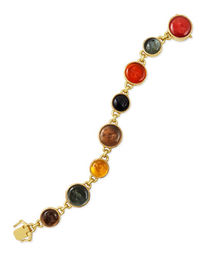 Venetian Glass Intaglio Tennis Bracelet, Neutral