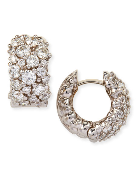 Large White Diamond Confetti Hoop Earrings