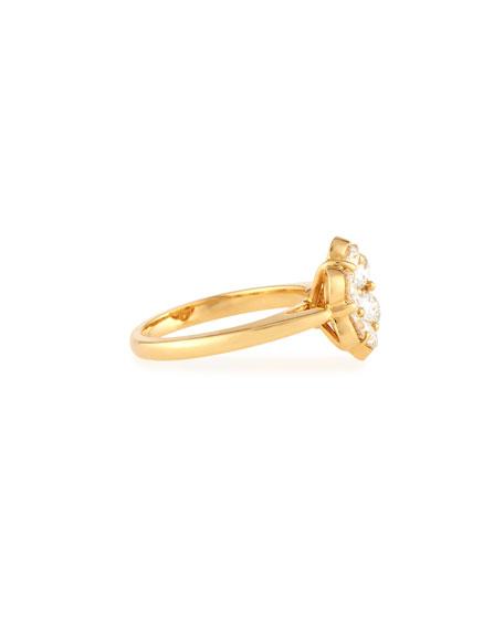 18K Yellow Gold & Diamond Flower Ring, Size 6