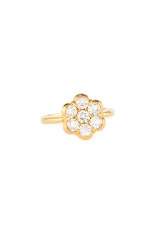 Bayco 18K Yellow Gold & Diamond Flower Ring, Size 6