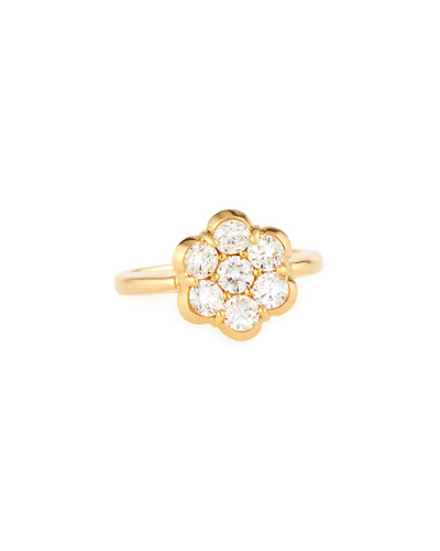 18K Yellow Gold & Diamond Flower Ring  Size 6