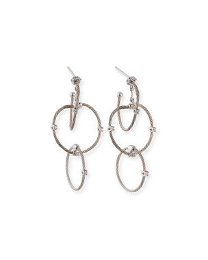 da2362e2fb2 Paul Morelli 18k White Gold Diamond Link Earrings