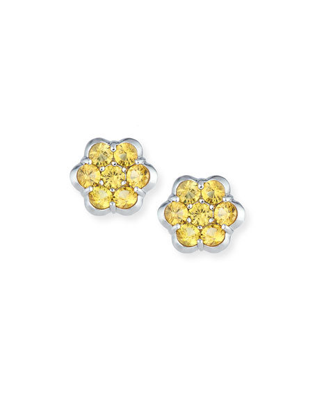 Platinum & Yellow Sapphire Floral Stud Earrings