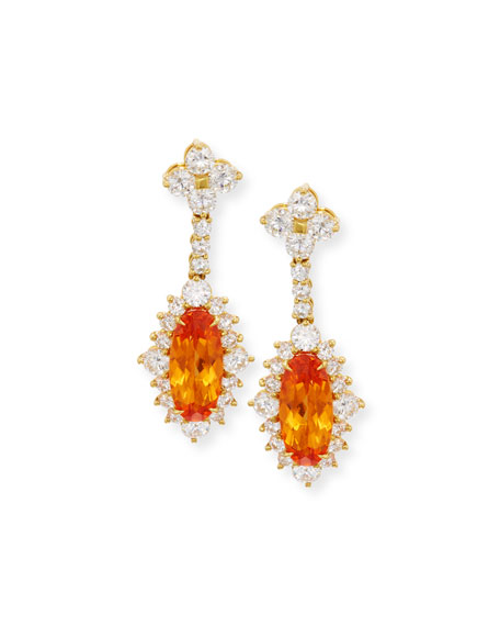 18K Yellow Gold Mandarin Garnet & Diamond Drop Earrings